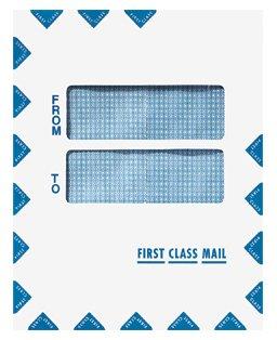"First Class Mail Double Window Tax Return Envelope 9.5"" x 12"", Moisture Seal, 50/Pk"