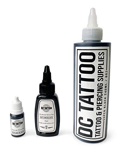 DCTattoo Stick & Hand Poke - Black Tattoo Ink 10ml, 30ml or 240ml (10ml)
