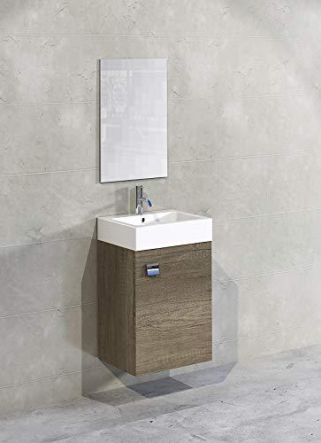 Baikal 280034036 Mueble de baño Lavabo cerámico y Espejo, de una Puerta, Ideal para aseos o baños pequeños, Melamina 16, Acabado en Roble Gris Nebraska, Cm, 45 x 36 x 60 cm, 10 Unidades