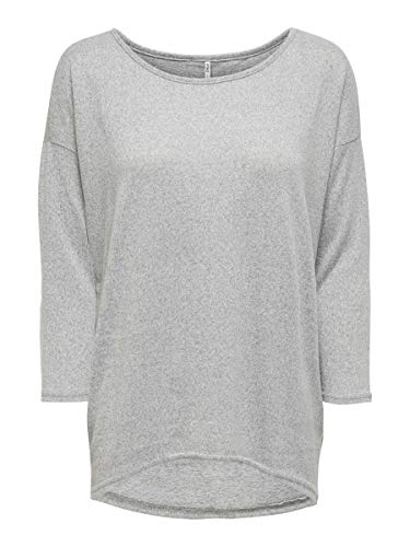 ONLY onlELCOS 4/5 SOLID TOP JRS NOOS, Camisa Manga Larga Mujer, Gris (Light Grey Melange), 36 (Talla del fabricante: Small)