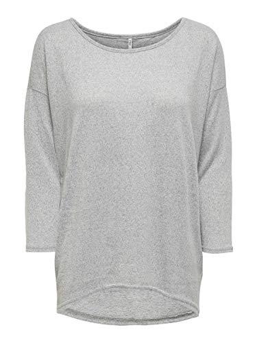 ONLY onlELCOS 4/5 SOLID TOP JRS NOOS, Camisa Manga Larga Mujer, Gris (Light Grey Melange), 38 (Talla del fabricante: Medium)