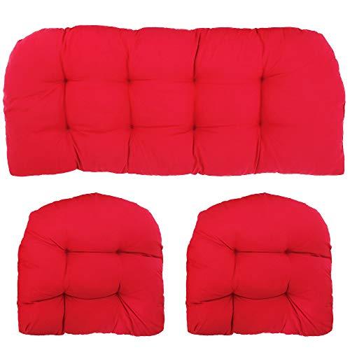 Protoiya 3 Piece Wicker Cushion Set,Loveseat Cushion Chairs Pad Patio Bench Cushion 2 U-Shape and Loveseat for Travel Holiday Garden Indoor Outdoor...