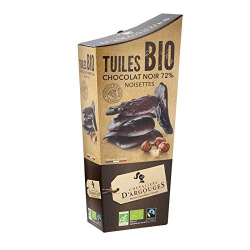 Chevaliers d'Argouges - Tuiles chocolat noir 72% éclats de noisettes Bio/Équitable - Étui dégustation - 130g