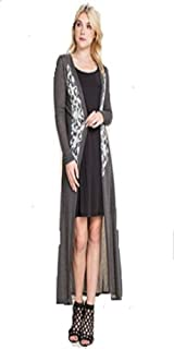 Vocal Apparel Blingy Open Front Long Sleeve Duster Cardigan with Print & Stone Details