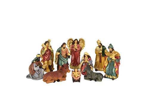 Aurora Store Natività 10 pz da h. 12 cm Classica Oro Presepe Statuine in Resina con 10 soggetti Personaggi da 12 cm Sacra Famiglia Giuseppe Maria Gesù Bambino Asinello Bue