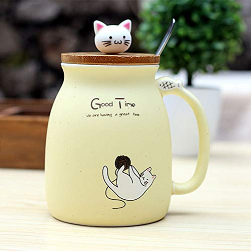 Haudang Neue sesam Katze hitzebestaendige Tasse Farbe Cartoon mit Deckel kaetzchen Milch Kaffee Keramik Becher Kinder Cup buero Geschenke (beige)
