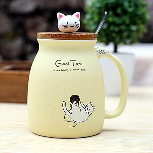 Sonline Neue sesam Katze hitzebestaendige Tasse Farbe Cartoon mit Deckel kaetzchen Milch Kaffee Keramik Becher Kinder Cup buero Geschenke (beige)
