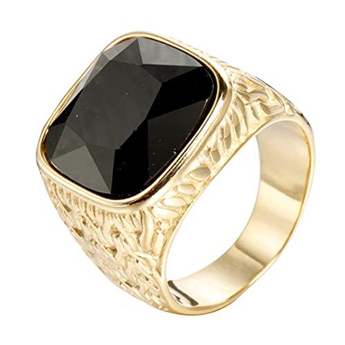 HIJONES Sencillo Clásico Lujo Cuadrado Negro Piedras Anillo Oro para Hombres Acero Inoxidable Boda Joyas Talla 15