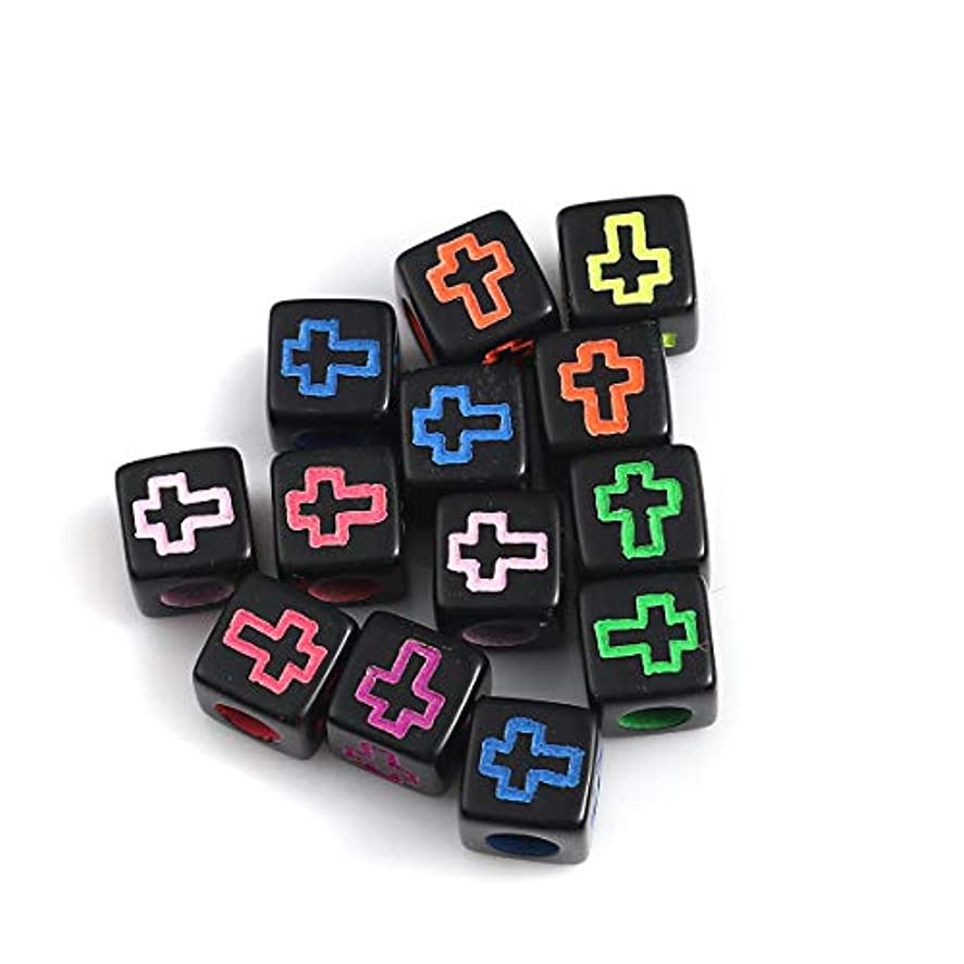Cross Small Square Cube Spacer Beads, 500 Pack, 6mm (1/4 Inch) with 3.2mm Hole, Acrylic (Black with Color)