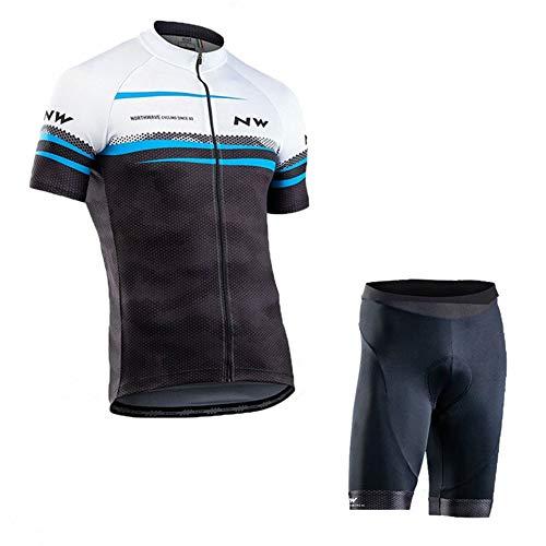 Wielershirt met korte mouwen, sneldrogende, ademende mountainbikekleding voor heren met korte broek