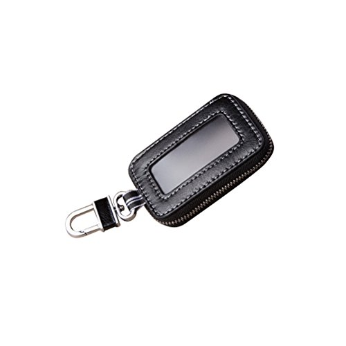 Black Universal Vehicle Car Smart Key Case Remote Fob Case Holder Keychain Ring Case Bag
