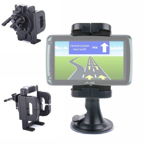 DURAGADGET Fixation Voiture Anti Vibration Rotatif - Tableau de Bord, Grille d'aération & Pare-Brise - pour GPS MAPPY Iti E408, Takara GP73, Mappy ITI E418, Mio Spirit 685 & 687