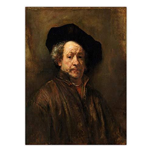 QZQ Home Decoration Print Canvas Art Muurfoto's Canvas Schilderij Poster Paitings Nederlands Rembrandt Van Rijn Zelfportret GEEN Frame 50x60cm K08095
