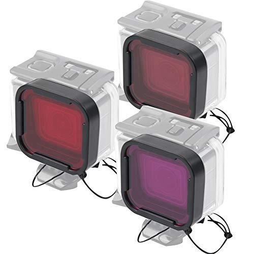 SHYEKYO Juego de filtros de Buceo Resistentes a los arañazos Filtro de cámara, para Gopro Hero 5/6
