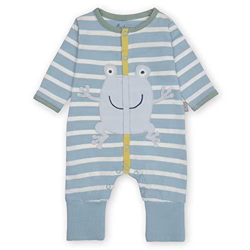 Sigikid Baby-Jungen Classic Bio-Baumwolle für Kinder Overall mit Klappbündchen, Blau/Frosch, 56