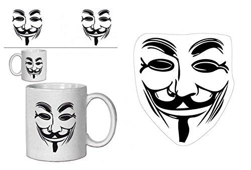 1art1 V De Vendetta, Máscara Guy Fawkes Taza Foto (9x8 cm) Y 1 V De Vendetta, Vinilo Decorativo Pegatina Autoadhesivo (9x9 cm)