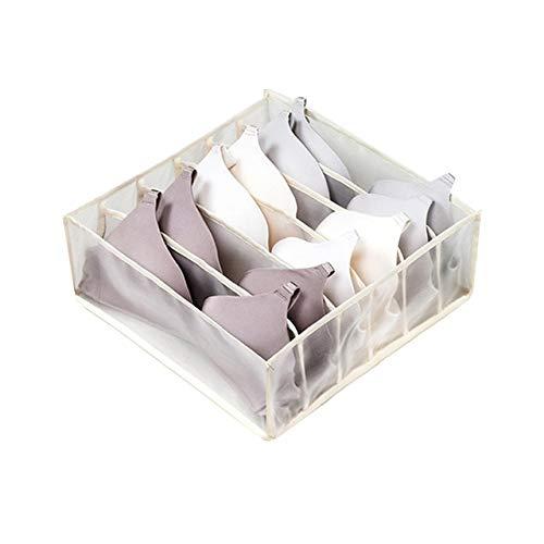 Schlafsaal Schrank Veranstalter für Socken nach Hause getrennte Unterwäsche Aufbewahrungsbox 7 Gitter BH Veranstalter Faltbare Schublade Veranstalter - Beige 6 Gitter