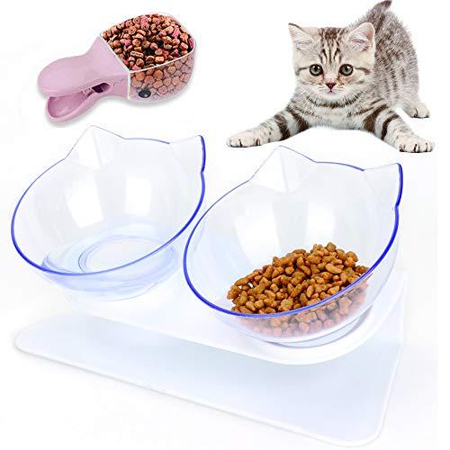 Sunshine smile katzennapf Set,Futternäpfe Katzenfutter,Futternapf Katze,rutschfeste Basis Doppelschüssel,Futterschüssel Katze,katzenschüssel Set für Katze Welpe Futter und Wass (Transparent-B)