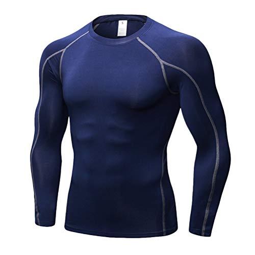Heren fitness sport ademend lange T-shirt chic elastische basislaag sneldrogend nauw thee shirt