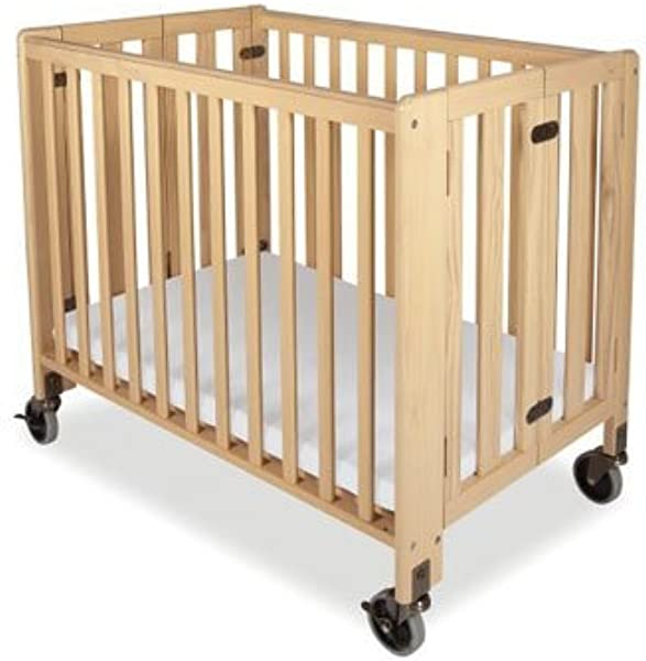 Folding Fixed Side Crib Full Size Natural Foundations Hideaway Crib