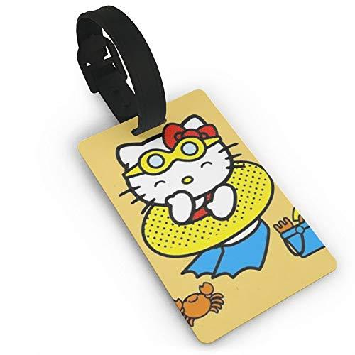DNBCJJ Etiquetas de equipaje para maletas Hello Kitty Natación vueltas etiqueta de equipaje, con nombre ID maleta para mujeres, hombres, niños accesorios de viaje