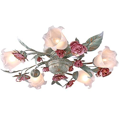 Florentiner Blumen form Deckenleuchte, Antike Landhaus Stil LED Deckenlampe, Pinke Metall Rose Glasschirme Design, Kronleuchter für Wohnzimmer Schlafzimmer, inkl.LED-Lichtquelle (5 Lichter)