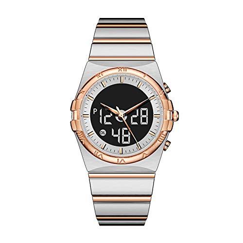 WTYU Reloj De Pulsera, Relojes De Negocios Resistentes a La Resistencia a Prueba De Agua, Banda De Acero Inoxidable LCD Pantalla Caja De Aleación Hombres Elegante Reloj C D
