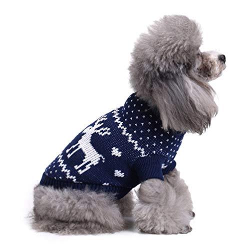 POPETPOP- Weihnachten Haustier Pullover Hund Pullover niedlichen festlichen Welpen Kleidung Kleiner Hund Wintermantel für Weihnachten Party Urlaub Festival (blau s)