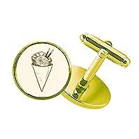 箸のゴマのアイスクリームコーン スタッズビジネスシャツメタルカフリンクスゴールド