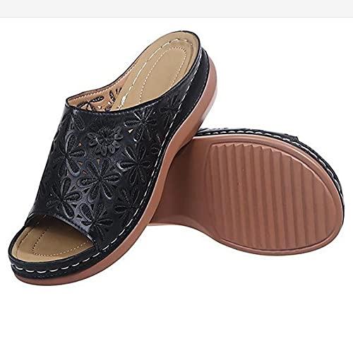 ZYLL Zapatillas de Verano para Mujer, Sandalias de Cuero de PU con Cabeza Redonda, Sandalias de corrección de pie con Dedo Gordo Suave Informal, Corrector ortopédico de juanetes,Negro,40