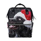 ALINLO - Bolsa de pañales para perro de nieve con gorro de Navidad, gran capacidad, mochila multifunción para viajes