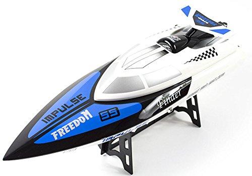 Premium RC Motorboot Speedboot raceboot op afstand bestuurd (tot 24 km/h) - radiografische besturing - hoge plezierfactor zoals krokodildoc