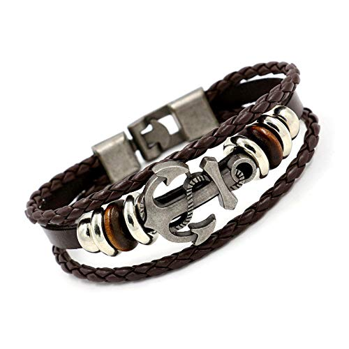 UGBJ Bracelets Jewellery Genuine Leather Bracelet Handmade Braided Bracelet Braided Leather Bracelets Jewelry Cowhide Braided Bracelet Alloy Anchor Beaded Multilayer Leather Bracelet
