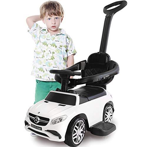 Stimo Mercedes Benz AMG Rutschauto (offiziell lizenziert) Kinder Fahrzeug Rutscher Auto (AMG GLE63 Coupe WEIß Haltegriff mit Lenkfunktion)