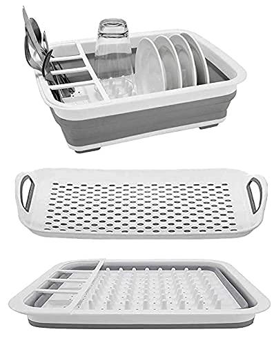 Soporte plegable para secar platos y tabla de drenaje, portátil, bandeja para vajilla, organizador de vajilla plegable