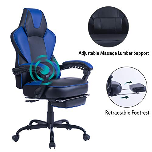 HEALGEN Reclining Gaming Chair with Large Lumbar Support Cushion Racing Style Video Game PC Computer Gamer Gaming Chairs Ergonomic Office High Back Chair with Headrest (9085-Blue) chair gaming