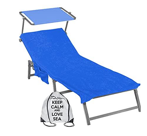 telo mare x lettino con elastici Tex family Telo Mare Lettino in Spugna di Puro Cotone BEDDY Beach © con Tasche Misura CM. 75 X 190 e Zaino Spiaggia - Blu
