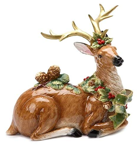 Cosmos Gifts 10 1/8-Inch Emerald Holiday Reindeer Pine Cone Figurine