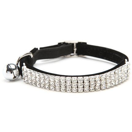 BINGPET Adjustable Cat Collar Soft Velvet Safe Collars Bling Diamante with Bells, Black
