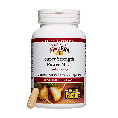 MacaRich by Natural Factors, Super Strength Power Maca, Superfruit Antioxidant Supplement with Ginseng, 90 capsules (90 servings)