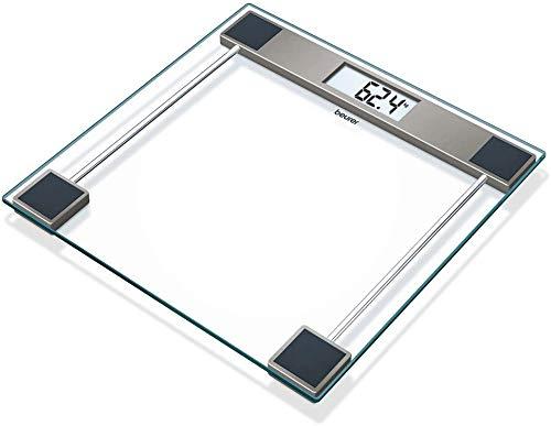 Beurer GS 11 Pèse-personne en verre numérique avec écran LCD, capacité de charge de 150 kg, transparent