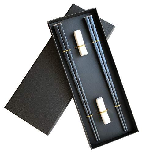 Palillos de aleación de fibra de vidrio Palillos reutilizables Aptos para lavavajillas, Juego de regalo de palillos japoneses premium (plata) (2 pares con soporte)