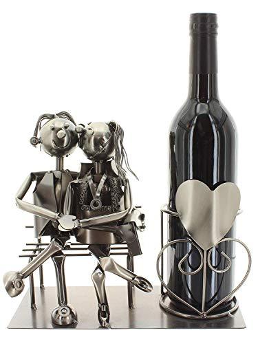 MIK Funshopping Wein-Flaschenhalter aus Metall - Flaschen-Geschenkverpackung, dekorativer Weinhalter (Liebespaar küssend)