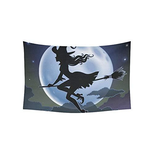 Tapiz silueta hermosa bruja volando frente tapices
