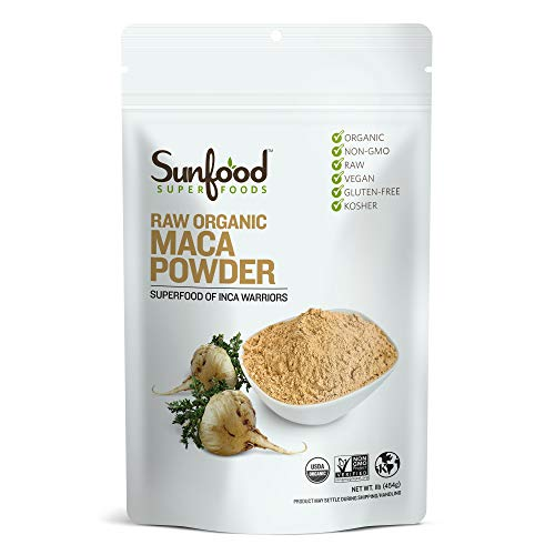 Sunfood Maca Root Powder, Organic, Raw for Men & Women. Highest Quality Maca from Peru. 100% Pure: No Additives, Fillers or Preservatives. 16 oz Bag (1 LB)