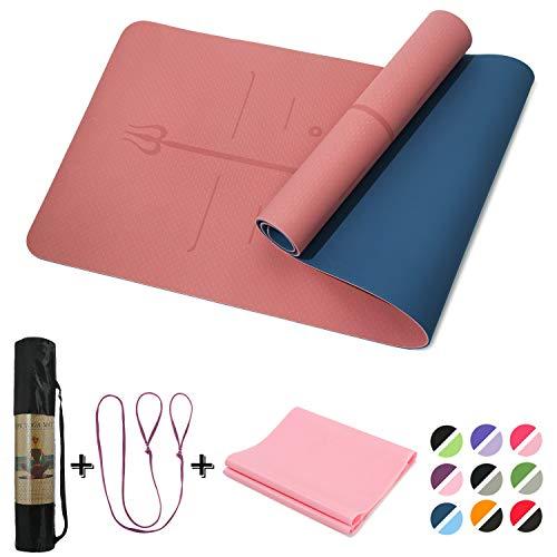 Yoga Mat Non Slip, Pilates Fitness Mats with Alignment Marks ,72x24' Anti-Tear Yoga Mats for Women,...