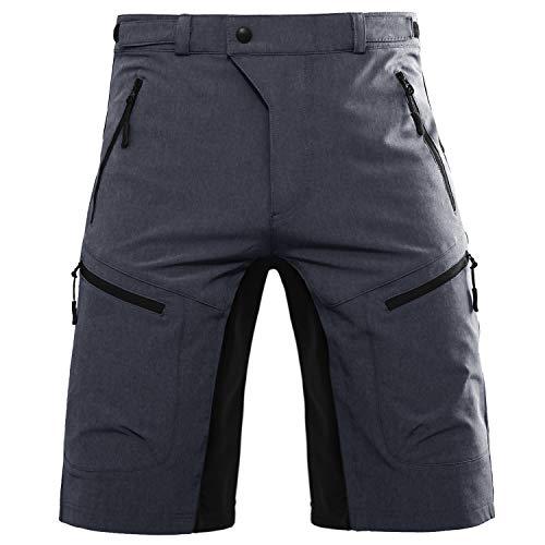 Hiauspor Herren-Fahrradhose-Mountainbike-Hose-kurz-MTB-Shorts Radhose Elastizität Outdoor Wanderhose Sportshose Fitnesshose Taschen mit reißverschluss(DK Grau,L)