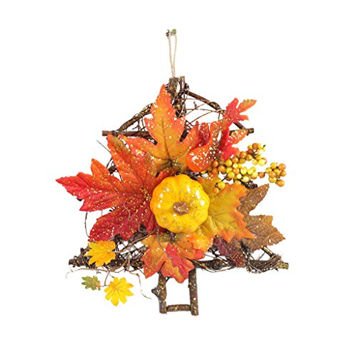 poundy outerwear Fall Wreath Artificial for Front Door, Christmas Wreaths with Maple Leaf Berry Pumpkin Garland Thanksgiving Window Wicker Decoration