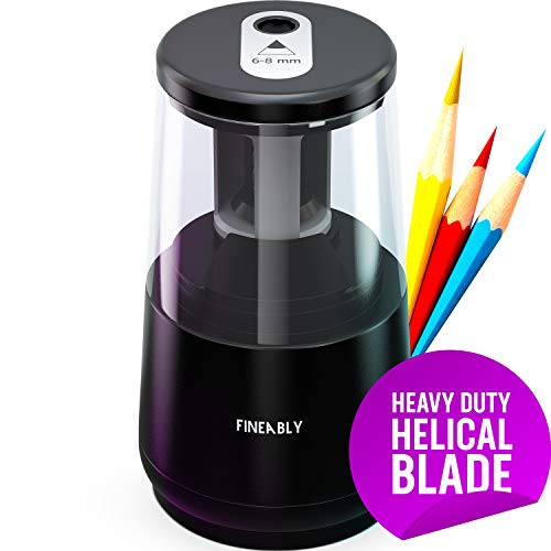 Electric Pencil Sharpener by Fineably – with Heavy Duty Helical Blade and Auto Stop to Prevent Over-Sharpening – Automatic Pencil Sharpener for Classroom with USB and Battery Powered Options