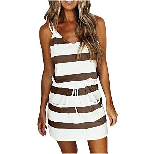 AMhomely Women Dresses Sale Ladies Summer Elegant Striped V-Neck Striped Waist Halter Sexy Sling Dress UK Size Evening Gowns Work Maxi Dress Brown